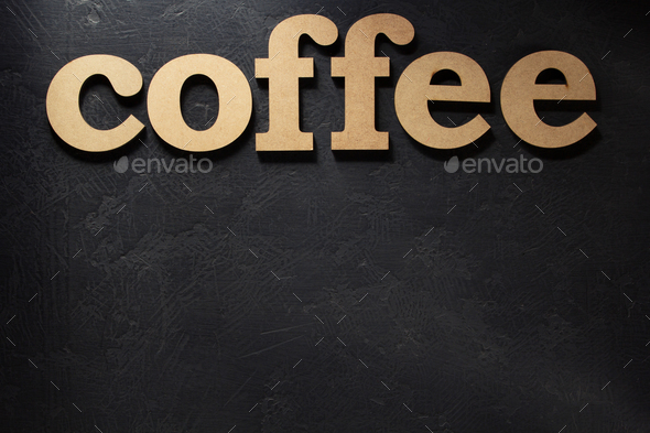 coffee wooden letters - Stock Photo - Images