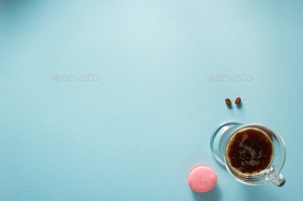 cup of coffee at blue background - Stock Photo - Images