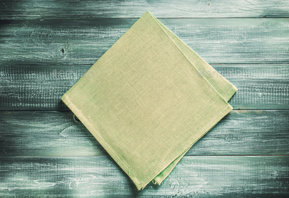 cloth napkin on wooden background - Stock Photo - Images