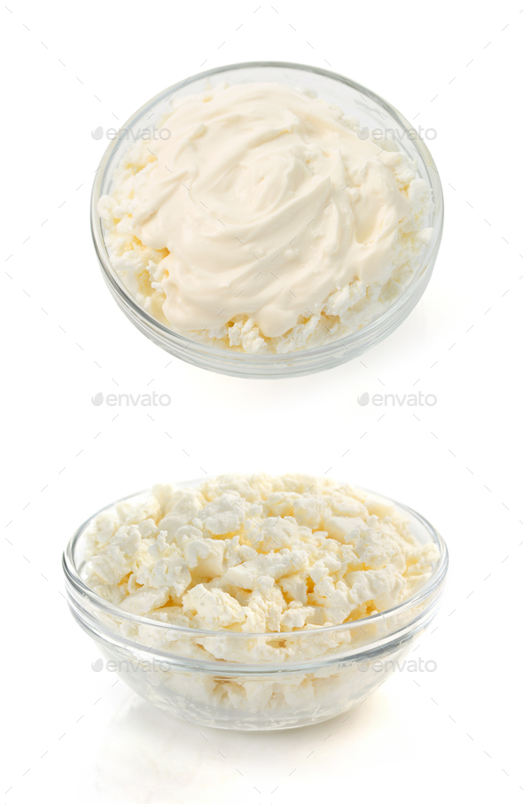 cottage cheese in bowl on white - Stock Photo - Images