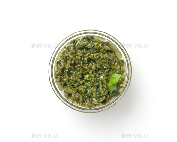 pesto sauce in bowl isolated on white - Stock Photo - Images