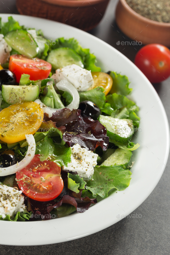 fresh greek salad in plate - Stock Photo - Images