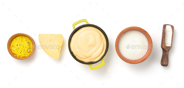 cheese sauce in bowl isolated on white - Stock Photo - Images