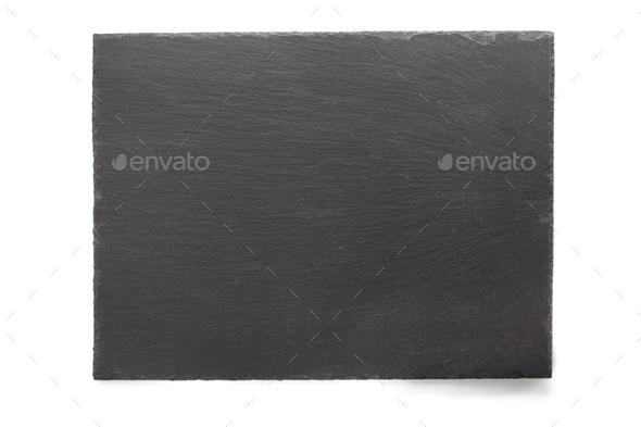 black slate signboard isolated on white - Stock Photo - Images