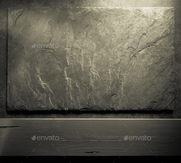 stone and slate on table - Stock Photo - Images