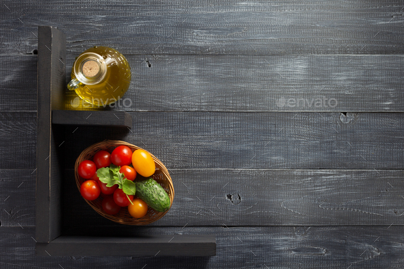 spice, herbs and food ingredients on wood - Stock Photo - Images