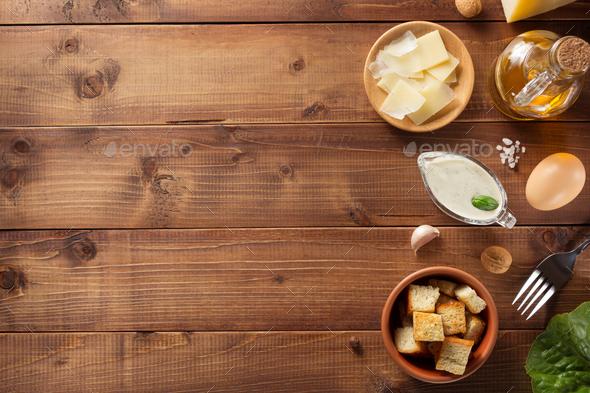 caesar sauce ingredients at wood - Stock Photo - Images