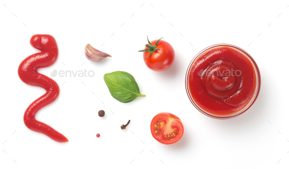 tomato sauce in bowl isolated on white - Stock Photo - Images