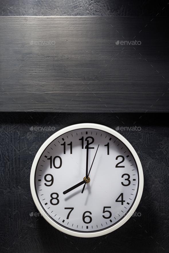 wall clock at black - Stock Photo - Images