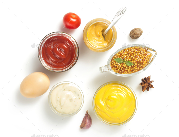 tomato sauce, mayonnaise and mustard on white background - Stock Photo - Images
