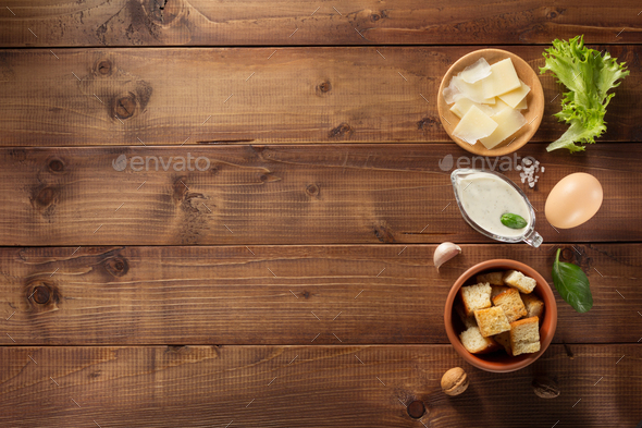 caesar sauce ingredients at wood - Stock Photo - Images