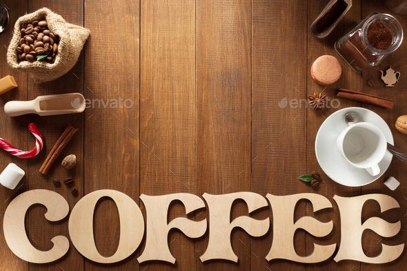 coffee set on wood - Stock Photo - Images