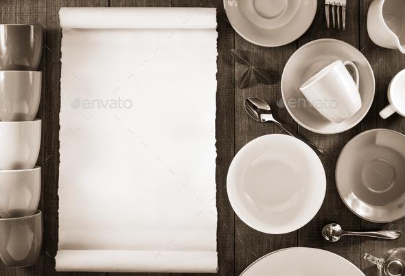 ceramic dishes set on wood - Stock Photo - Images