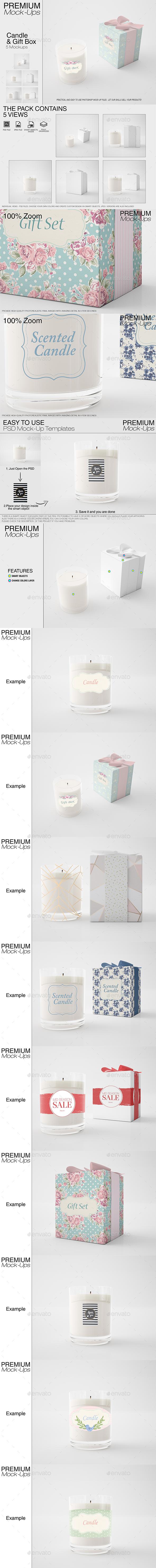 Candle & Gift Box Set - Print Product Mock-Ups