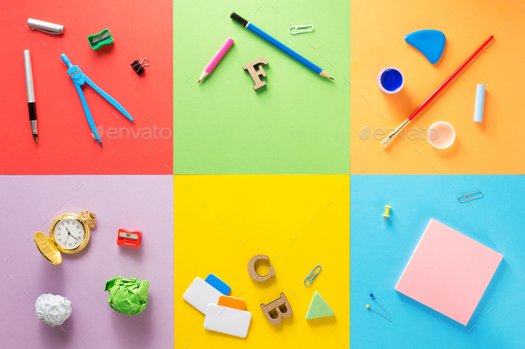 school supplies at abstract colorful background - Stock Photo - Images