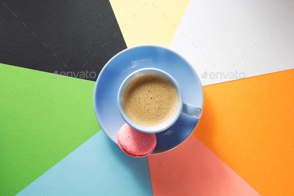 cup of coffee at paper background - Stock Photo - Images