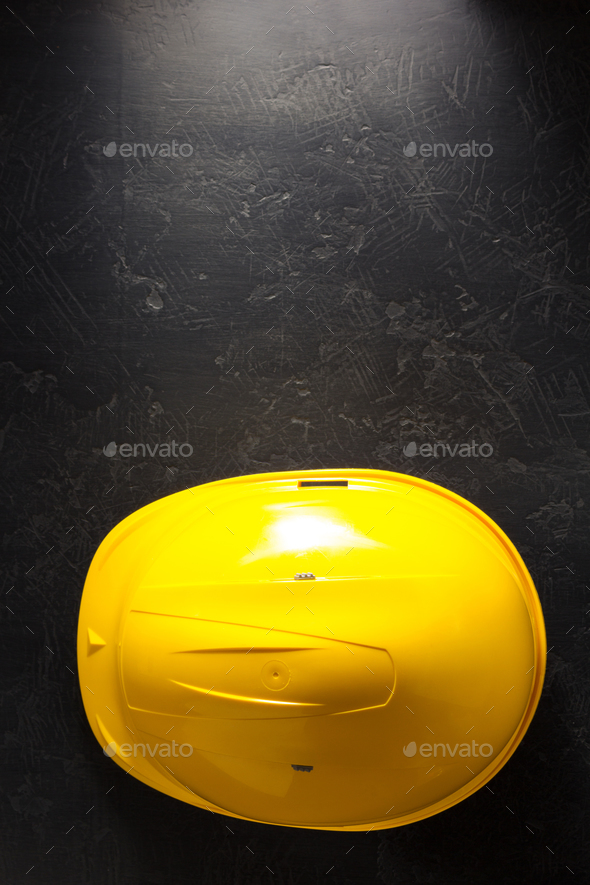 construction helmet on black - Stock Photo - Images