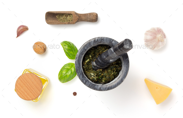 green sauce in mortar isolated white - Stock Photo - Images