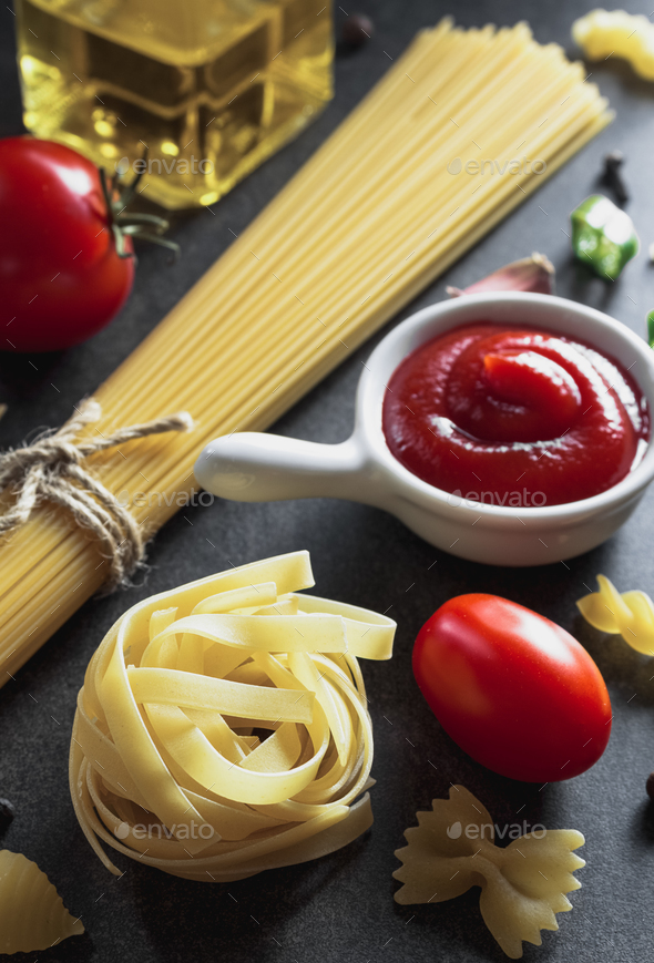 pasta and food ingredient  on table - Stock Photo - Images