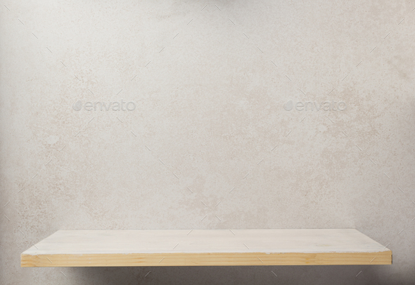 wooden shelf at wall background - Stock Photo - Images