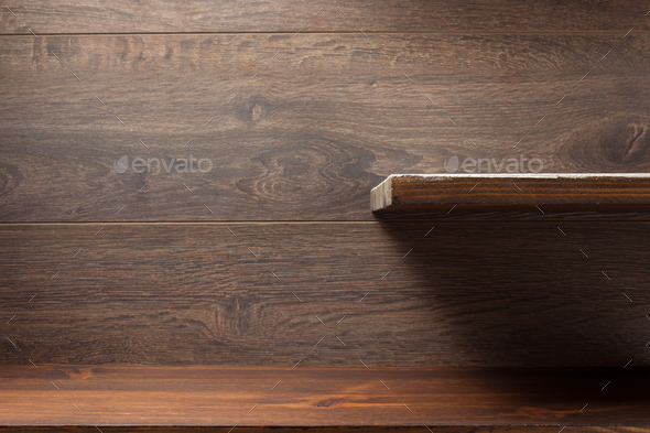 wooden shelf at background texture - Stock Photo - Images