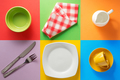 kitchenware at colorful background - PhotoDune Item for Sale
