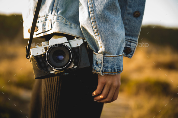 Girl with a vintage camera - Stock Photo - Images