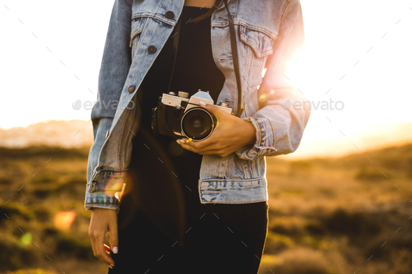 Woman Taking Picture Outdoors - Stock Photo - Images