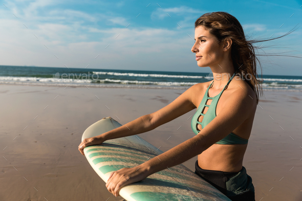 Beautiful surfer girl - Stock Photo - Images