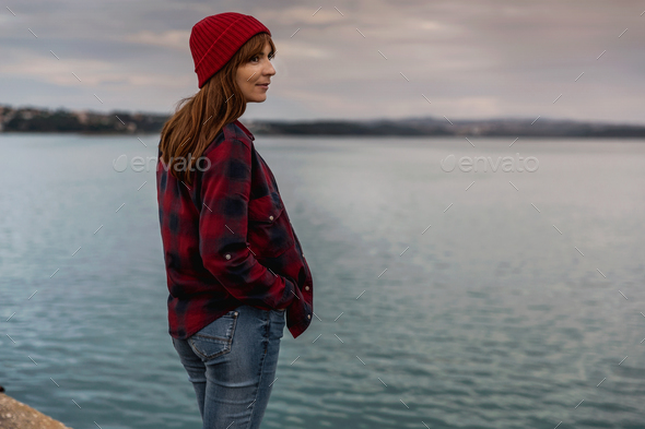 Girl on the lake - Stock Photo - Images