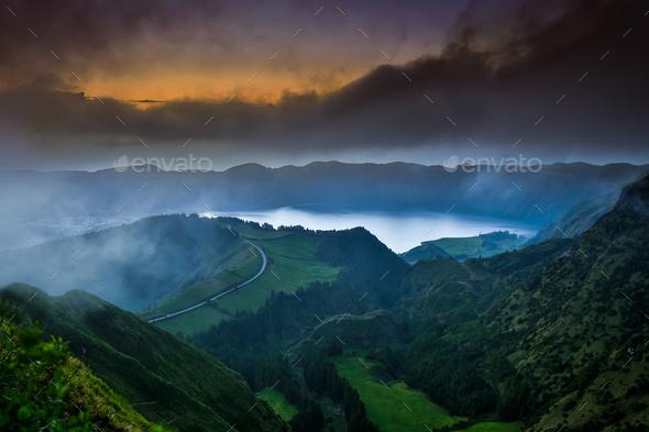 Beautiful lake at dusk - Stock Photo - Images