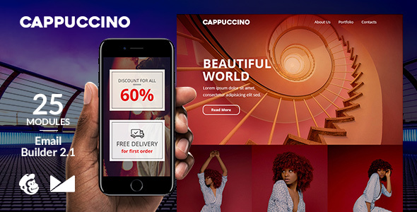 Image of Cappuccino Responsive Email Template + Online Emailbuilder 2.1