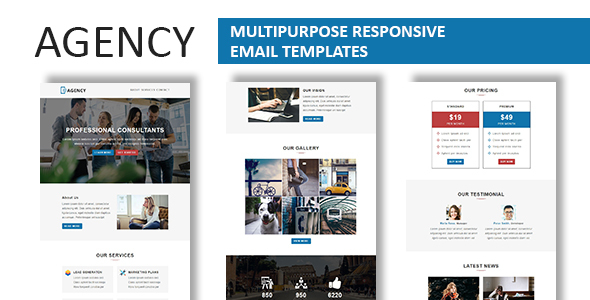 Image of Agency - Multipurpose Responsive Email Template With Stamp Ready Builder Access