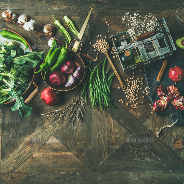 Winter vegetarian or vegan food cooking ingredients - Stock Photo - Images