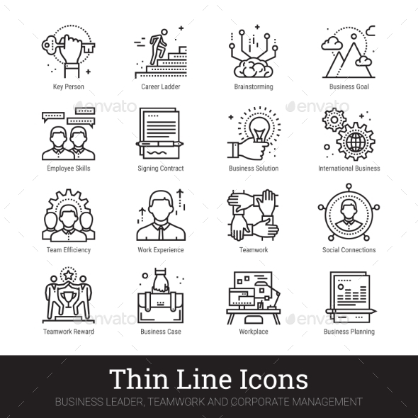 Business Leadership, Teamwork And Management Icons