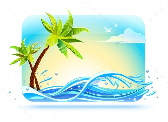 Tropical Palms on Beach Among Sea Waves - Landscapes Nature