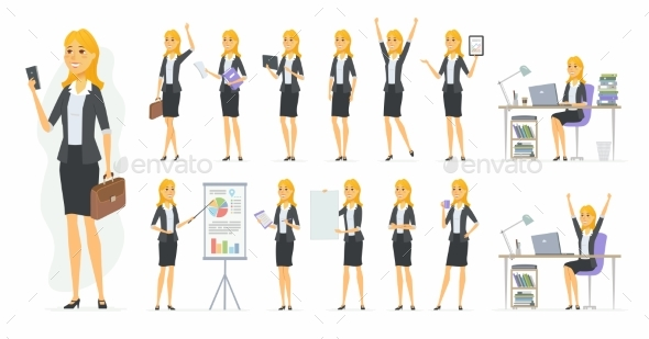 Pretty Businesswoman - Vector Cartoon People - People Characters