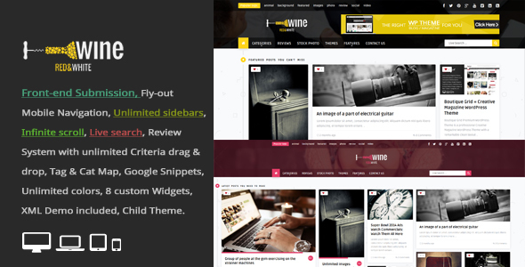 Wine Masonry - Review & Front-end Submission WordPress Theme - News / Editorial Blog / Magazine