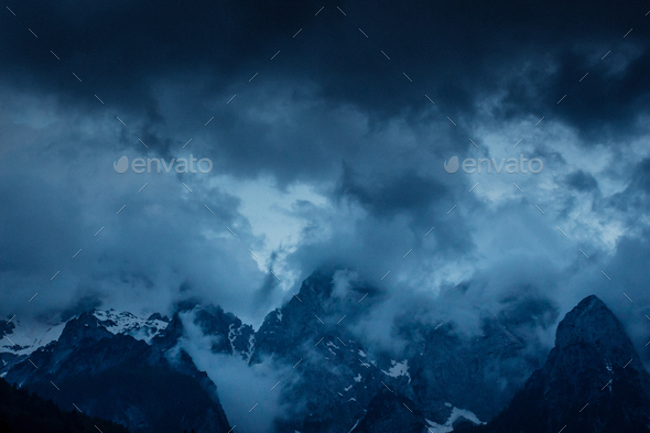 Storm through the Julian Alps - Stock Photo - Images
