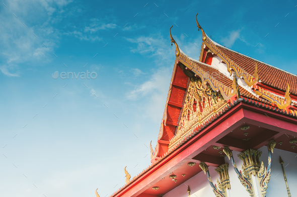 part off thailand buddist temple roof - Stock Photo - Images