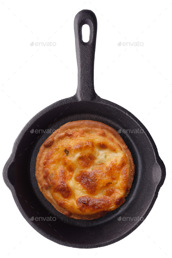 Round toast with grilled cheese on a frying pan - Stock Photo - Images