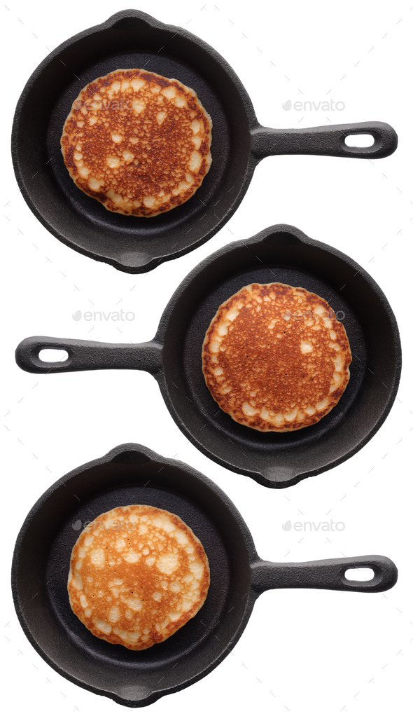 Set of three various pancakes on a frying pan - Stock Photo - Images