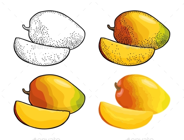 Whole and Slice Mango - Food Objects