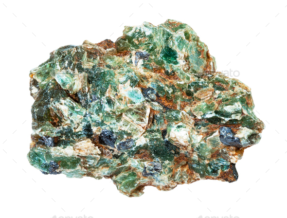green beryl crystals in rough rock isolated - Stock Photo - Images