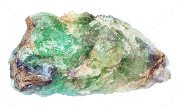 raw green Beryl gemstone isolated - Stock Photo - Images