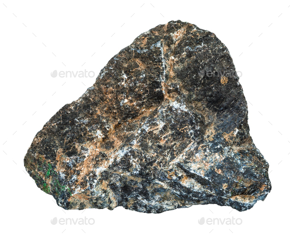 raw Chromite stone isolated on white - Stock Photo - Images