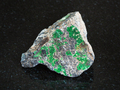 Uvarovite on rough Chromite stone on black - PhotoDune Item for Sale