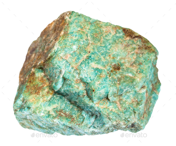 raw Amazonite stone isolated on white - Stock Photo - Images