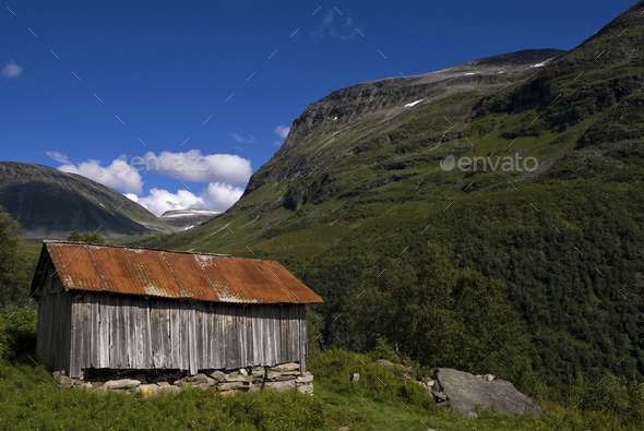 Mountain shed near Geiranger - Stock Photo - Images