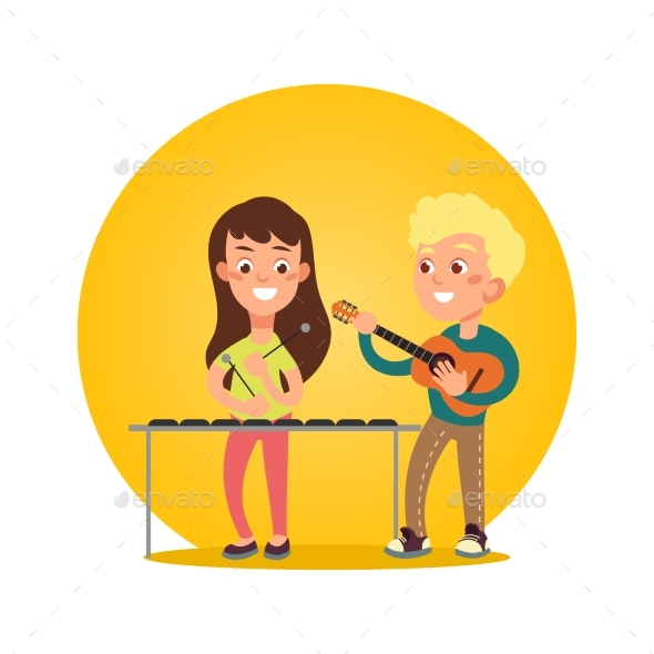 Happy Children Musicians with Musical Instruments - Miscellaneous Vectors